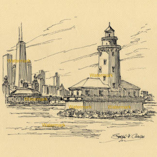 Chicago Harbor Lighthouse pen & ink