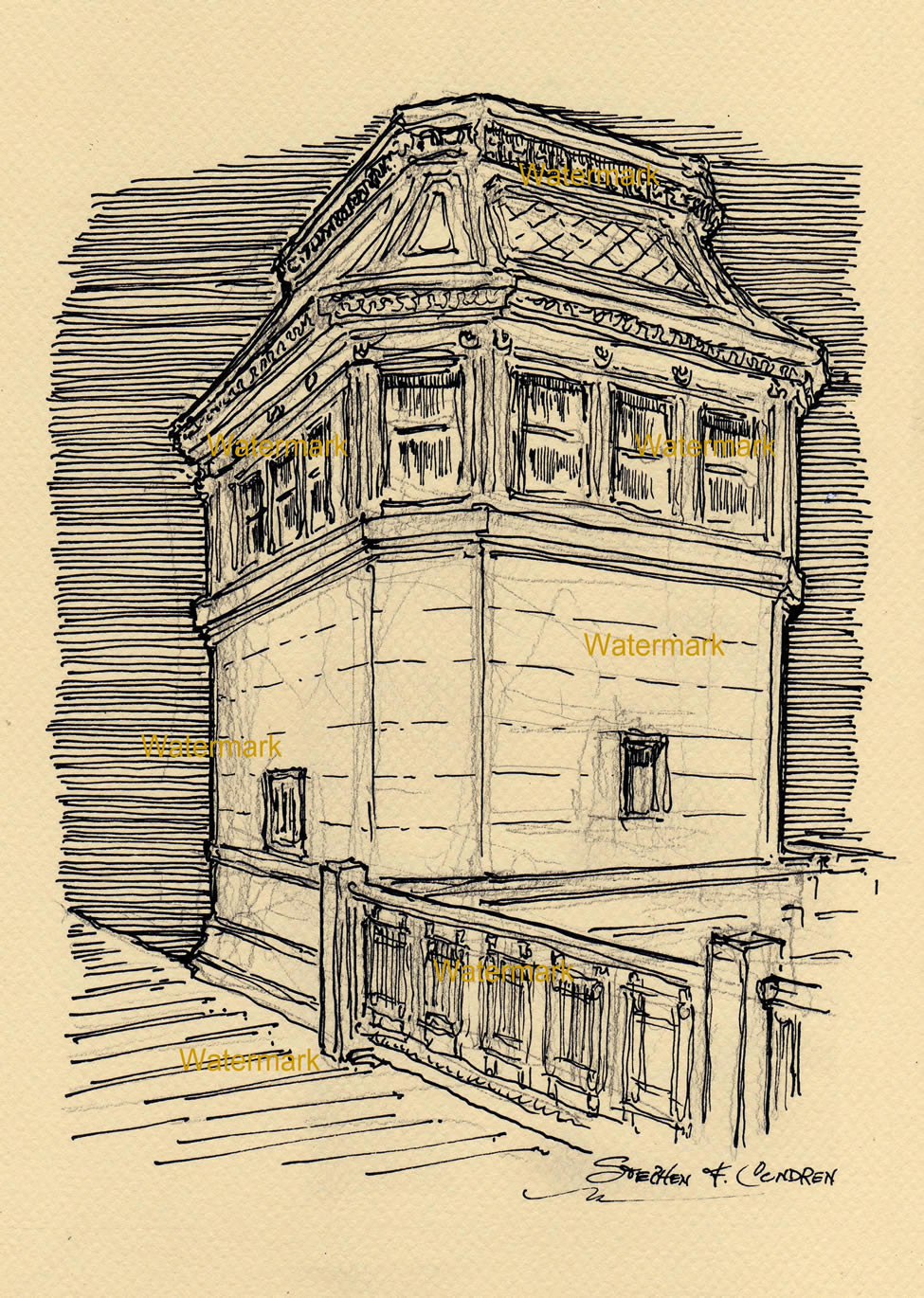 Pen & ink drawing of a Chicago drawbridge house.
