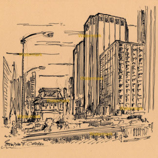 Downtown Chicago Loop #1001A pen & ink cityscape drawing on the banks of the Chicago River, with drawbridges.