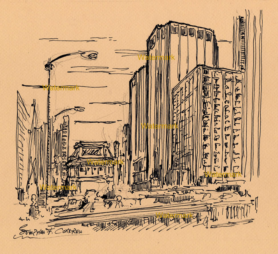 Pen & ink drawing of the Chicago Loop on the Chicago River.