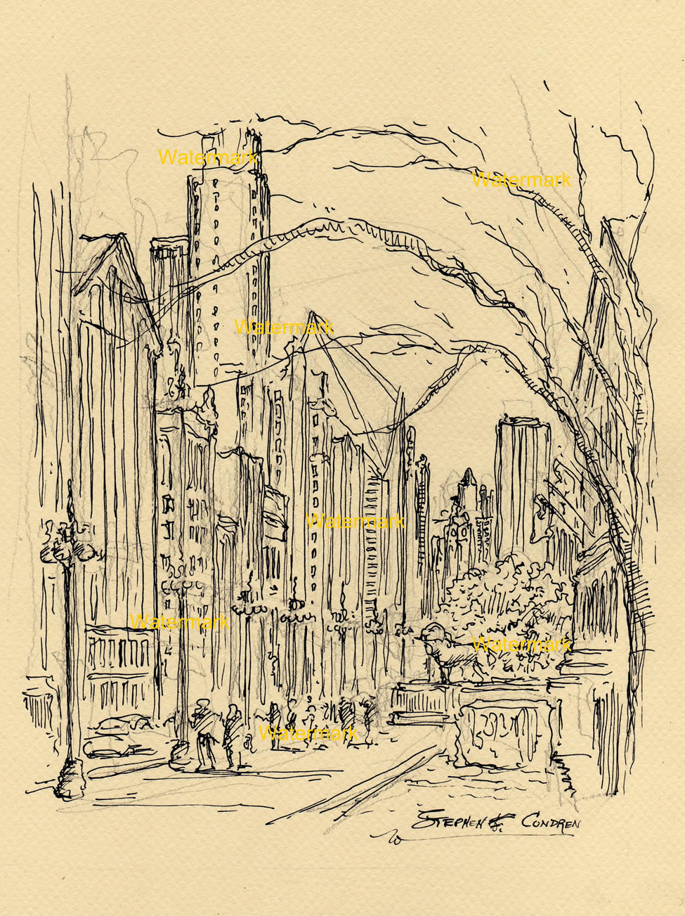 Downtown Chicago Michigan Avenue pen & ink drawing.