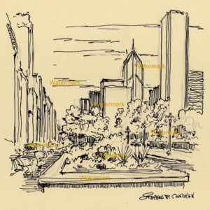 Pen & ink drawing of downtown Chicago on Michigan Avenue.