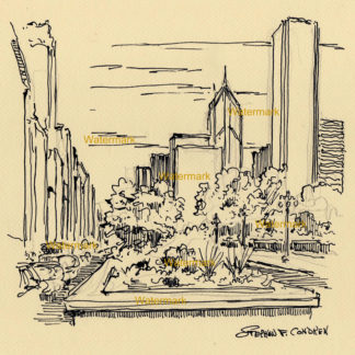 Chicago Michigan Avenue #1003A pen & ink cityscape drawing looking north of downtown to the AON Center.