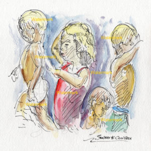 Watercolor painting of blonde children at play splashing in water.