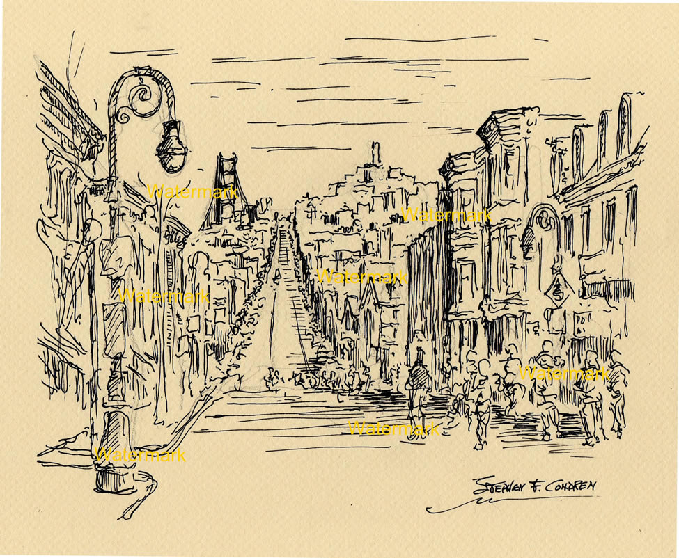 Pen & ink line drawing of Nob Hill in San Francisco.
