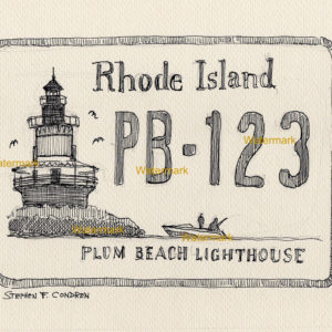 Plum Beach Lighthouse license plate pen & ink drawing.