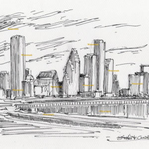 Houston skyline pen & ink drawing of downtown with skyscrapers.