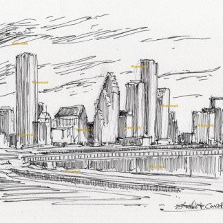 Houston Skyline Pen & Inks