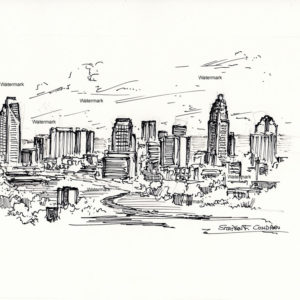 Pen & ink drawing of Charlotte skyline.
