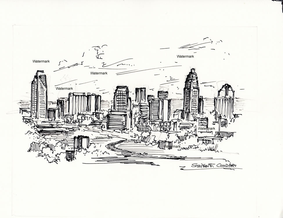 Charlotte skyline pen & ink line drawing of downtown.