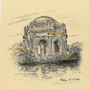 Pen & ink drawing of the Palace of Fine Arts in San Francisco.