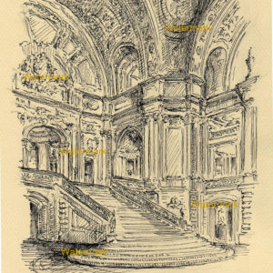 Pen & ink drawing of the interior rotunda of the San Francisco City Hall.