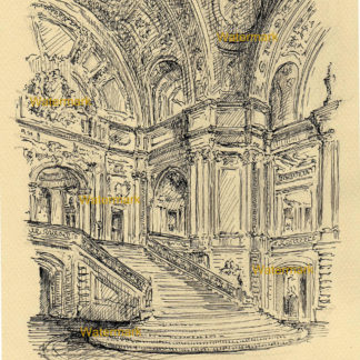San Francisco #931A City Hall Rotunda landmark pen & ink drawing with view of the grand staircase.