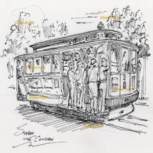 Pen & ink drawing of people riding in a San Francisco trolley.