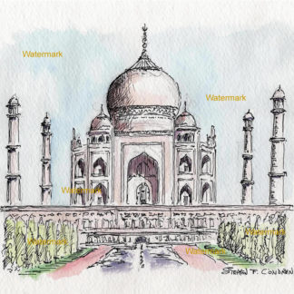 Taj Mahal #2959A pen & ink landmark watercolor reflecting in the pond and fountains.