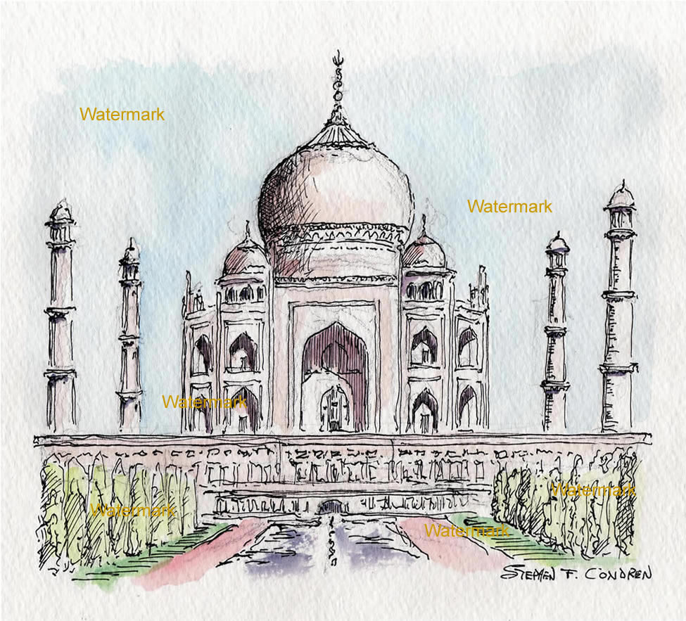 Taj Mahal watercolor painting with pen & ink lines and hatching.