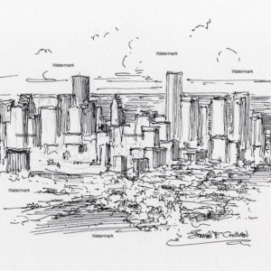 Houston skyline pen & ink drawing of downtown from an aerial view.
