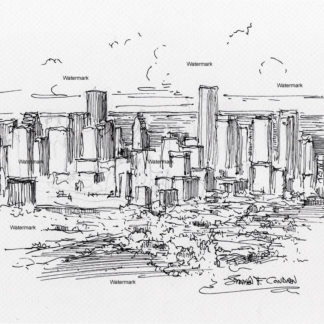 Houston skyline #2966A pen & ink cityscape drawing of downtown from an aerial view perspective.