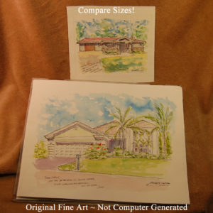 Large and small watercolor house portraits.