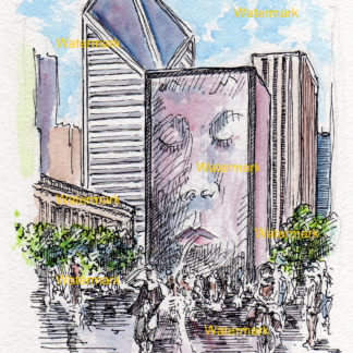 Watercolor painting of Crown Fountain at Millennium Park in Chicago.