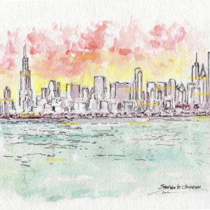 Chicago Skyline Watercolors