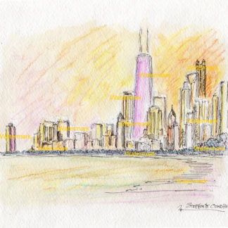 Chicago skyline watercolor of near north side skyscrapers at sunset.