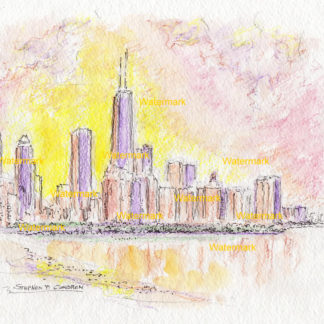 Chicago skyline watercolor painting on Lake Shore Drive at sunset.
