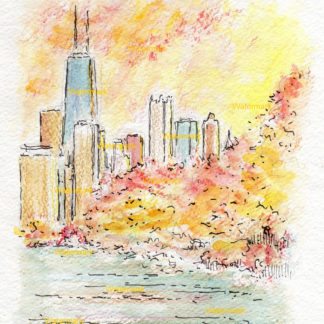 Chicago skyline watercolor painting in Lincoln Park at sunset.