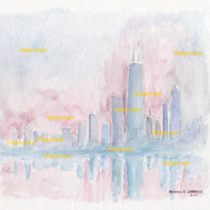 Chicago skyline watercolor Impressionist painting at dusk.