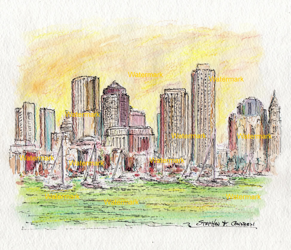 Boston skyline watercolor painting from the harbor at sunset.