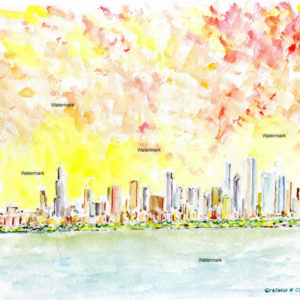 Watercolor skyline paintings and prints of Chicago at sunset.
