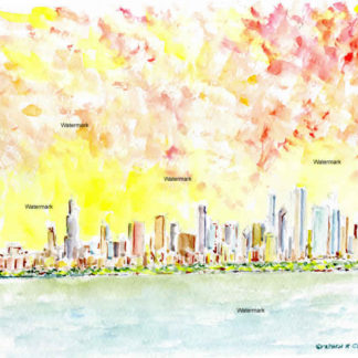 Chicago skyline watercolor painting at sunset on the lake.