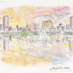Watercolor of Milwaukee skyline.