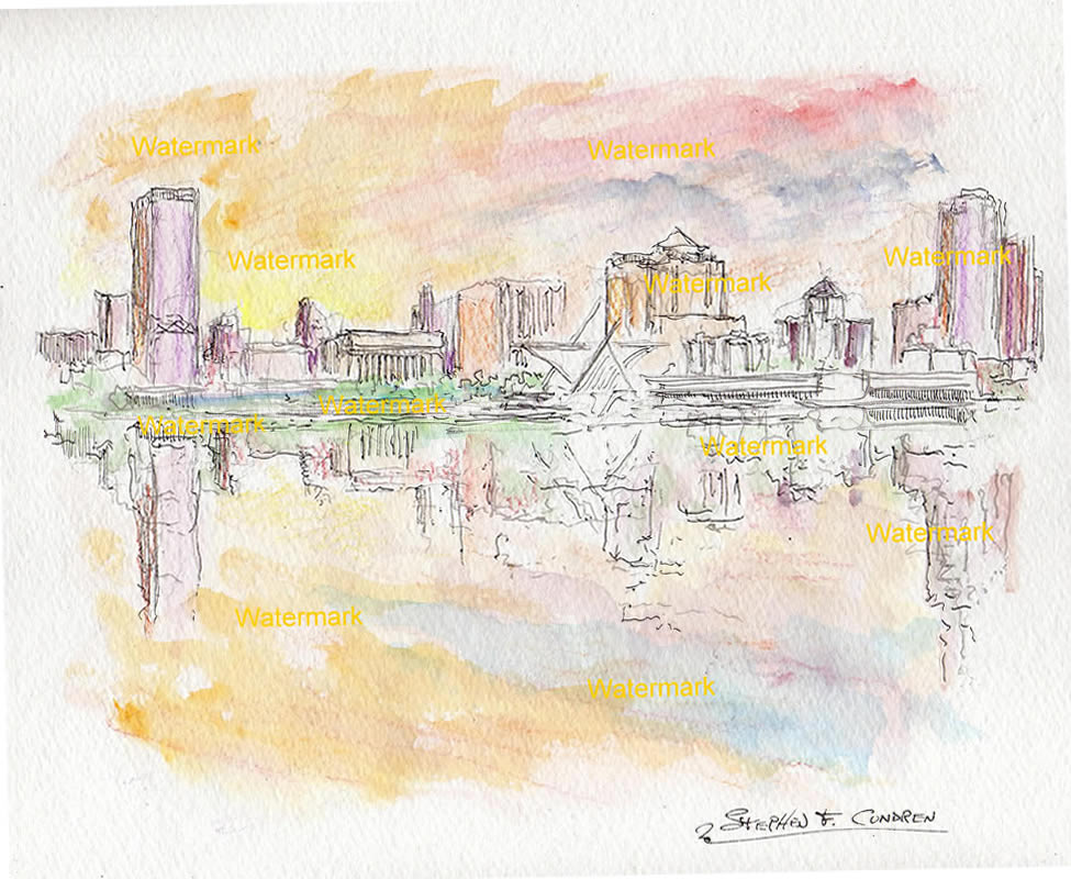 Milwaukee skyline watercolor painting of downtown at sunset.