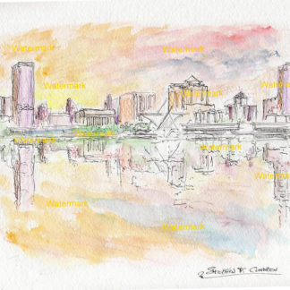 Watercolor skyline painting of downtown Milwaukee.
