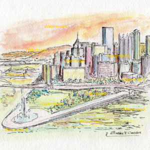 Pittsburgh Skyline Watercolors
