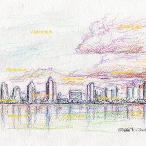Color pencil drawings and prints of San Diego skyline.