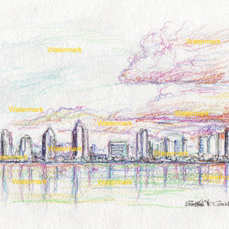 San Diego skyline #2440A color pencil pen & ink cityscape drawing at sunset on the bay with large clouds.