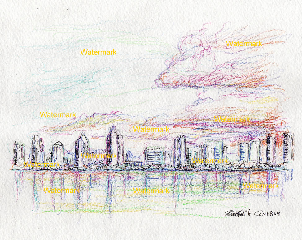 San Diego skyline color pencil drawing at sunset.
