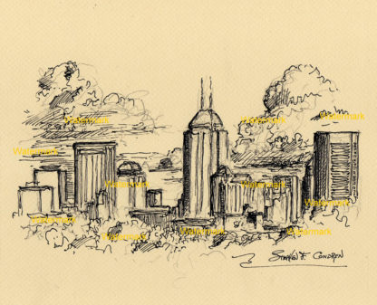 Pen & ink skyline drawing of downtown Indianapolis.