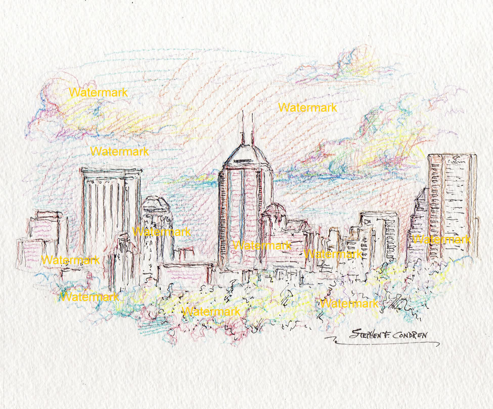 Indianapolis skyline color pencil line drawing of downtown at sunset.