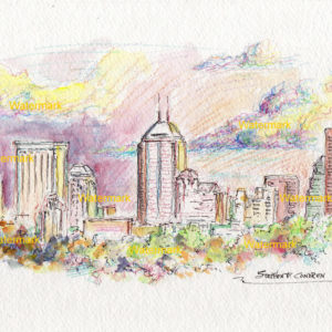 Indianapolis Skyline Watercolors