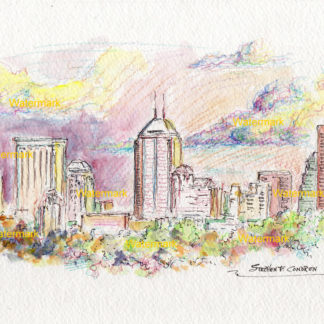 Indianapolis skyline #2448A pen & ink, color pencil, cityscape watercolor of downtown at sunset.