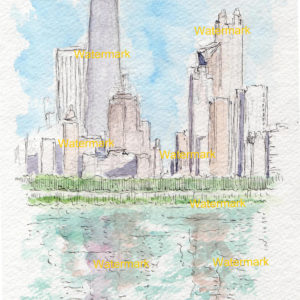 Chicago skyline watercolor painting of the near north side over the lake showing the John Hancock Center.