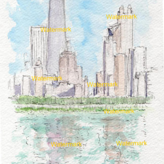 Chicago skyline art in watercolors and pen & ink drawings