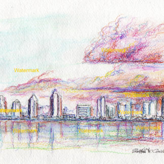 San Diego skyline watercolor on the ocean with stormy clouds at sunset.