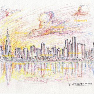 Chicago skyline #2453A pen & ink watercolor at sunset overlooking Burnham Harbor and the Loop with large clouds.
