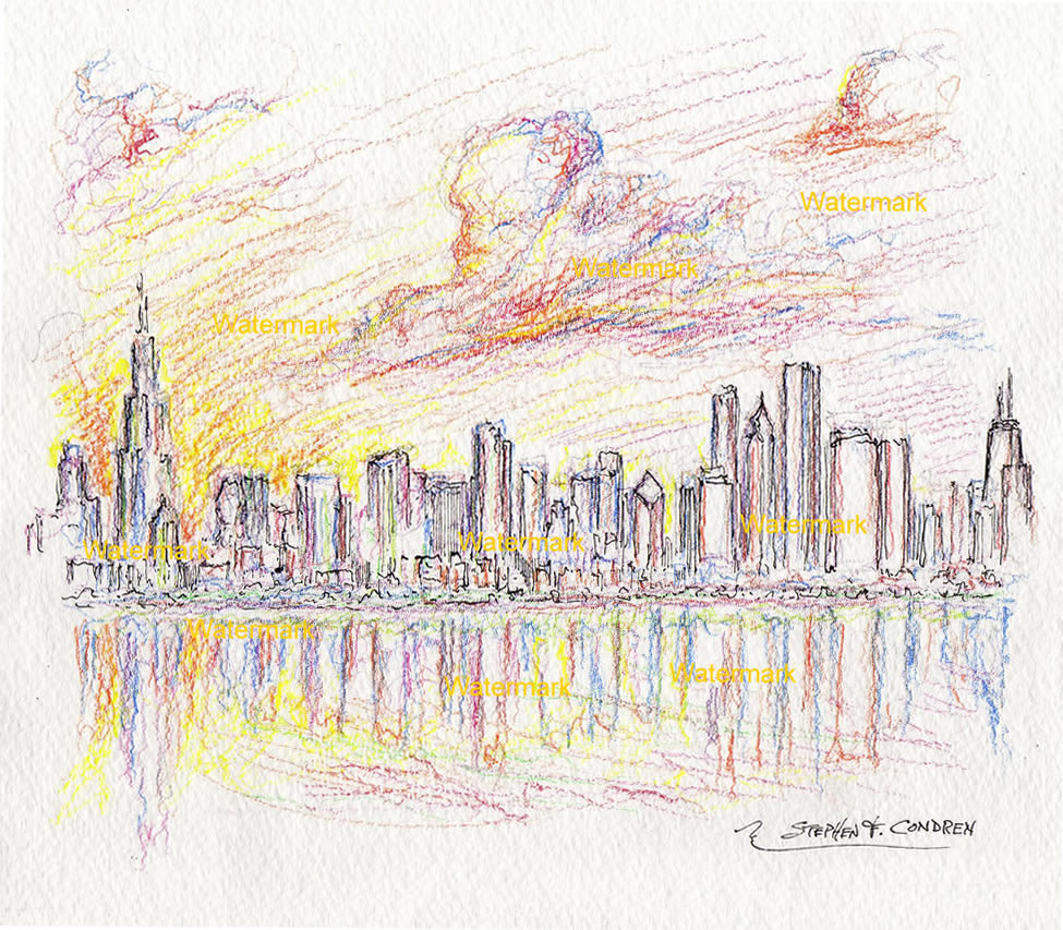 Chicago skyline drawings