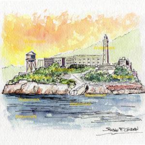 Alcatraz Island watercolors and prints in San Francisco Bay at sunset.