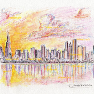 Chicago sunset skyline watercolors and prints.